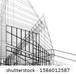 house building architecture... | Shutterstock .eps vector #1586012587