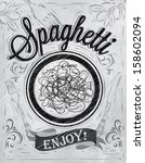 poster lettering spaghetti... | Shutterstock .eps vector #158602094
