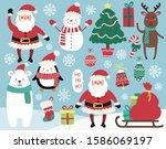 christmas vector set.... | Shutterstock .eps vector #1586069197
