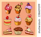 sweet cakes and colorful... | Shutterstock .eps vector #158609399