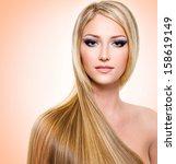 beautiful woman with long... | Shutterstock . vector #158619149