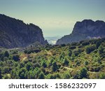 spanish mountains landscape and ... | Shutterstock . vector #1586232097