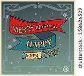 vintage christmas card | Shutterstock .eps vector #158626529