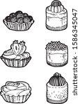 vector set of different creamy...   Shutterstock .eps vector #1586345047