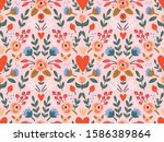 beauty seamless roses and... | Shutterstock .eps vector #1586389864