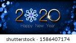happy new year 2020. golden... | Shutterstock .eps vector #1586407174
