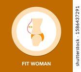 fit woman. women waist icon ... | Shutterstock .eps vector #1586437291