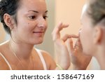 beautiful make up artist in... | Shutterstock . vector #158647169
