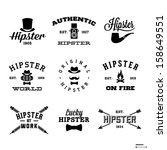 vintage hipster labels with hat ... | Shutterstock .eps vector #158649551