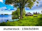 Summer Rural Village River...