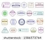 vintage passport stamp. airport ... | Shutterstock .eps vector #1586573764
