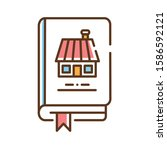 household book color line icon. ...