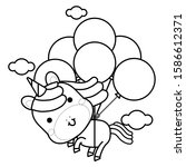 Cute Magical Unicorn Flies With ...