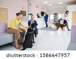 Pet Dog Owner With Nurse In Vet ...