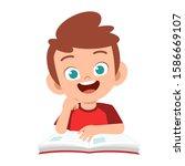 Happy Cute Kid Boy Study With ...