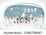 paper art  cut and digital... | Shutterstock .eps vector #1586738467