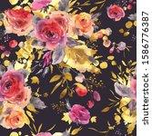 gentle watercolor floral... | Shutterstock . vector #1586776387