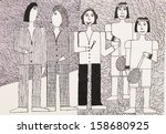 hand drawn pen illustration of... | Shutterstock . vector #158680925
