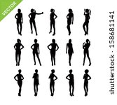 sexy women silhouettes vector... | Shutterstock .eps vector #158681141