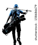 one man golfer golfing golf bag ... | Shutterstock . vector #158686679