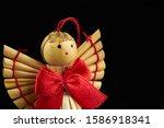 Figures of woodden angel...
