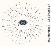 grey reddish eye due to viral ... | Shutterstock .eps vector #1586925817