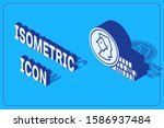 isometric coin for game icon...