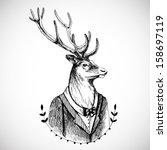 portrait of a deer in a tuxedo .... | Shutterstock .eps vector #158697119