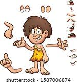 cartoon prehistoric cave boy... | Shutterstock .eps vector #1587006874