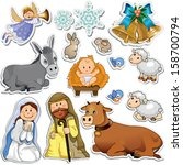 set of christmas stickers... | Shutterstock . vector #158700794