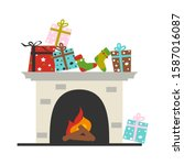 christmas fireplace with gift... | Shutterstock .eps vector #1587016087