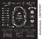 vintage borders set | Shutterstock .eps vector #158701907