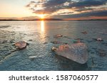Ice On Lake Constance At Sunset ...