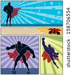 superhero banners  set of 4... | Shutterstock .eps vector #158706554