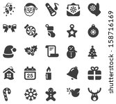 set of black icons for christmas, isolated