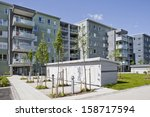 apartment buildings on a sunny... | Shutterstock . vector #158717594