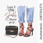 sparkle slogan with girl legs... | Shutterstock .eps vector #1587201271