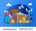 group of people stand near big...   Shutterstock .eps vector #1587251197