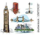 london vector drawings  ... | Shutterstock .eps vector #158729237