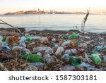 garbage on the shore of the... | Shutterstock . vector #1587303181