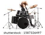 Energetic Female Drummer...