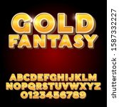 gold fantasy alphabet vector... | Shutterstock .eps vector #1587332227