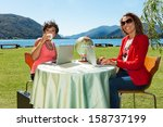 modern life of two business... | Shutterstock . vector #158737199