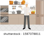 cartoon chef character holding... | Shutterstock .eps vector #1587378811