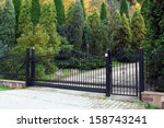 black modern gate and green... | Shutterstock . vector #158743241