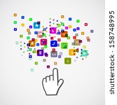 pointing hand with icon  paper...   Shutterstock .eps vector #158748995