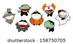 funny kids  73   halloween... | Shutterstock .eps vector #158750705