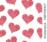 red watercolor hearts on a...   Shutterstock .eps vector #1587535417