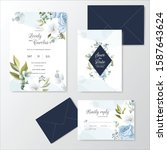hand drawn floral wedding...   Shutterstock .eps vector #1587643624
