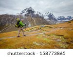 hiker on the trek in himalayas  ... | Shutterstock . vector #158773865